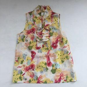 J. Crew Frances Blouse Top Tank Floral Ruffle Silk